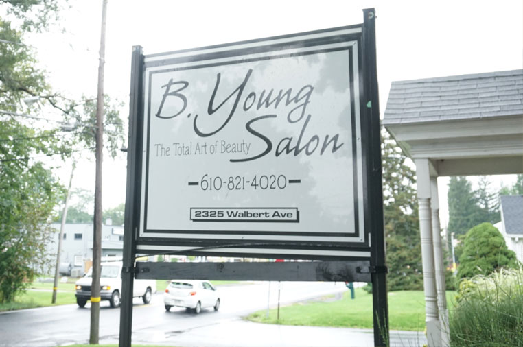 B. Young Salon outdoor sign